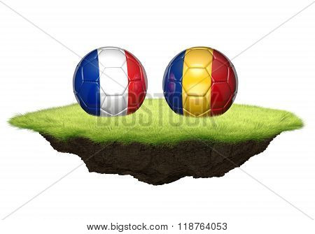 France and Romania 3D team balls for Euro 2016 football championship tournament