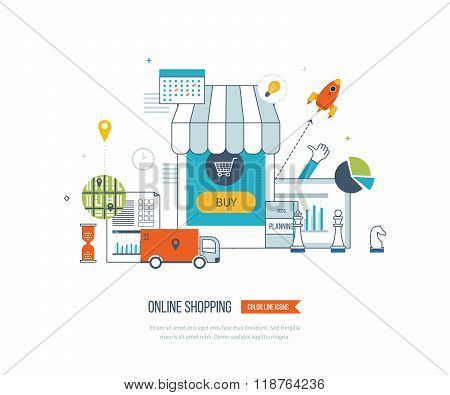 Mobile marketing concept. Online shopping. Shopping basket. Investment business. Delivery.
