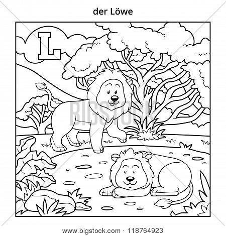 German Alphabet, Letter L (lion And Background)