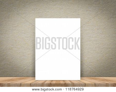 Blank White Paper Poster At Tropical Plank Wooden Floor And Paper Wall, Template Mock Up For Adding.