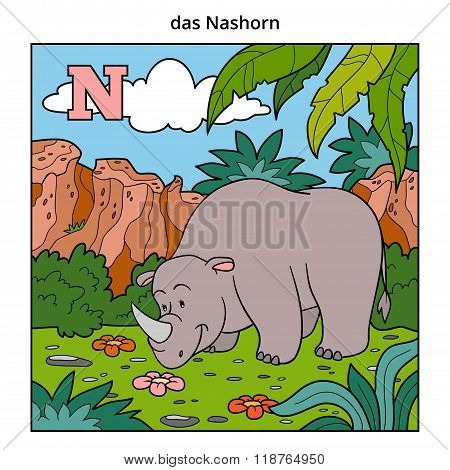 German Alphabet, Letter N (rhino And Background)