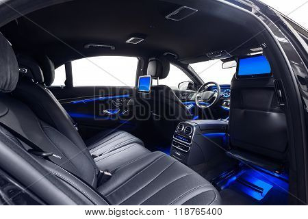 Car interior luxury back seats with multimedia & ambient light