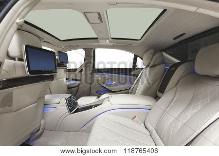 Car interior luxury back seats with multimedia & panoramic roof