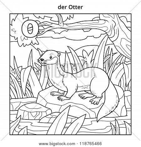 German Alphabet, Letter O (otter And Background)