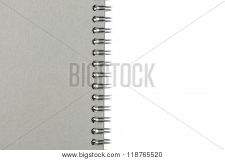 Wire Bound Or Spiral Bound Sketchbook Made From Grey Board Isolated On White Background.