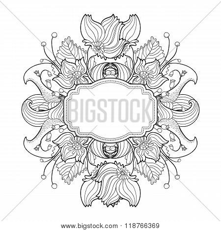 Floral linear drawing label for vintage design