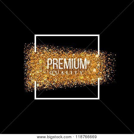 Premium quality gold textured squared label