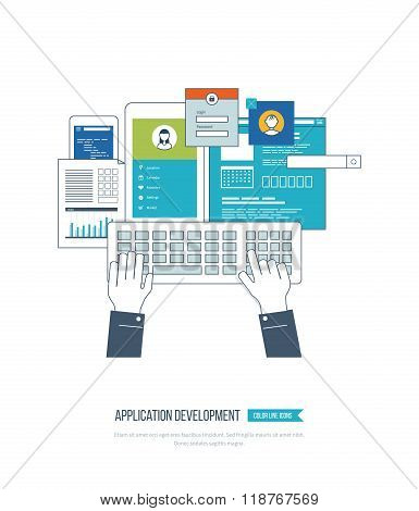 Application development concept  for e-business, web sites, mobile applications