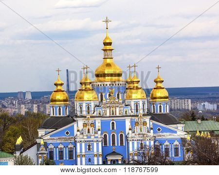 Saint Michael Monastery Cathedral Spires Tower Kiev Ukraine