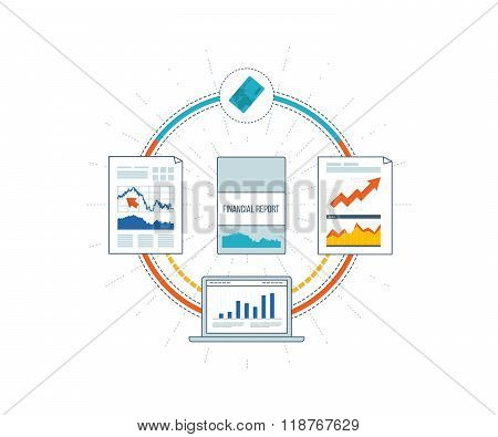 Financial report and financial strategy. Investment growth. Brochure Design Templates.