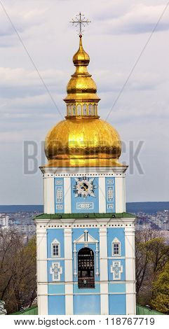 Saint Michael Monastery Cathedral Tower Golden Domes Kiev Ukraine