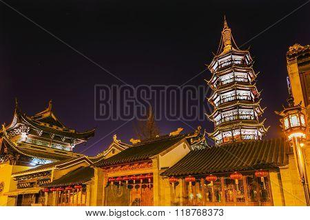 Buddhist Nanchang Temple Pagoda Wuxi Jiangsu China Night