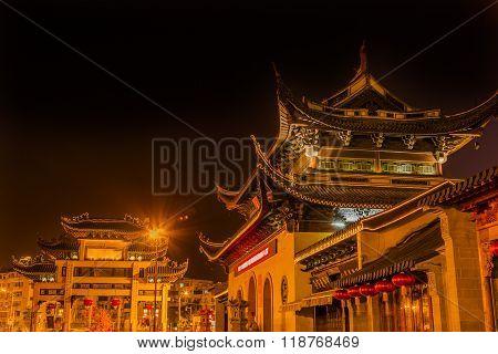 Entrance Gate Buddhist Nanchang Temple Pagoda Wuxi Jiangsu China Night
