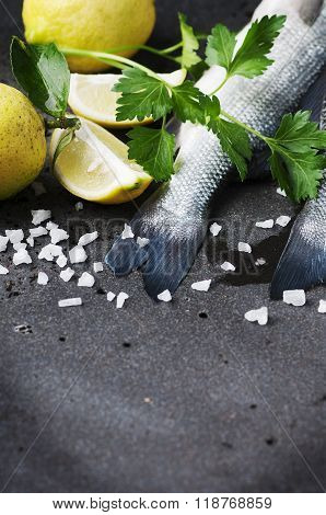 Raw Seabass With Salt, Lemon And Parsley