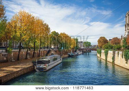 Seine river embankment in Paris near Notre Dame