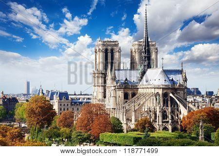 Notre Dame cathedral in Paris from roof
