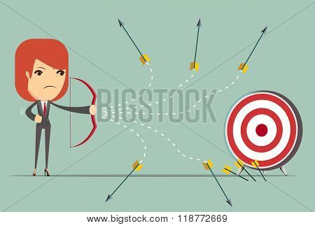 business woman can not hit the target