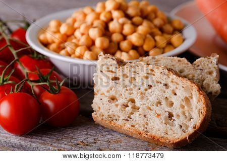 Piece Of Wholewheat Bread With Tomatoes And Chickpeas
