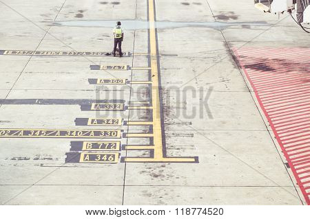 Markings On The Concrete At Airport