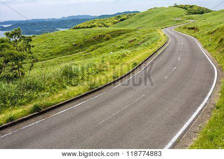 Roadway on hillside