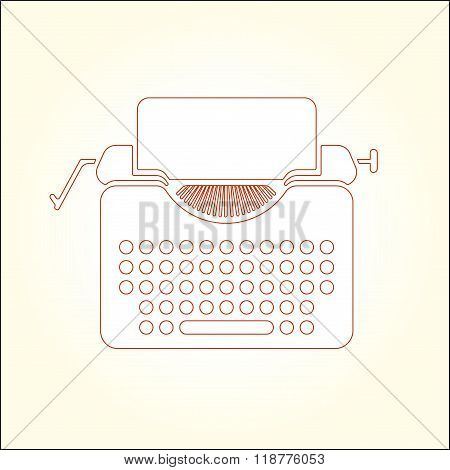 Tipewriter vector thin line icon illustration.