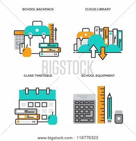 Flat line design vector illustration concept of School Backpack, Cloud Library, Class Timetable, Sch