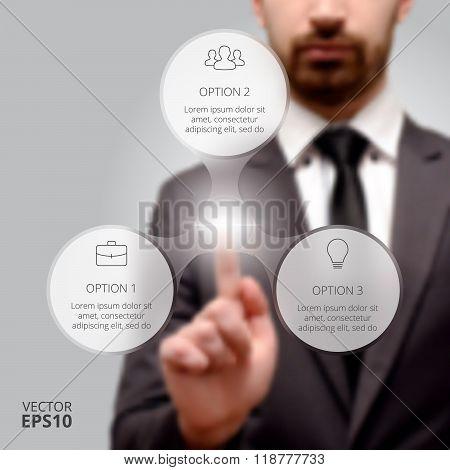 Businessman pressing button.