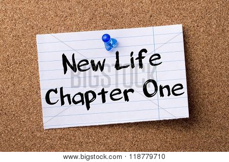 New Life Chapter One - Teared Note Paper Pinned On Bulletin Board