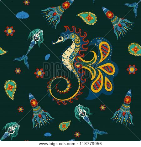 Hand drawn Ornamental Mermaid, sea-horse and calmar.