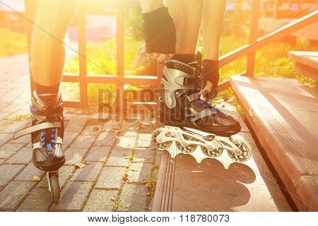 man rollerblading outdoors