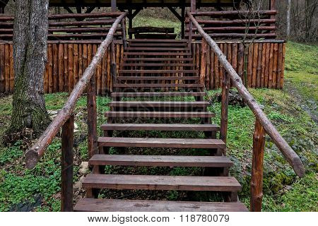 Bower Made Of Beech Logs With Wooden Stairs