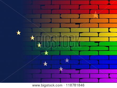 Rainbow Wall Alaska Flag