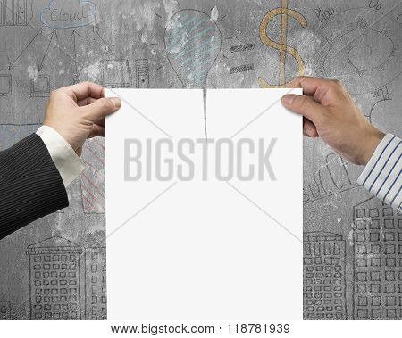 Two Hands Tearing Contract Paper With Blank