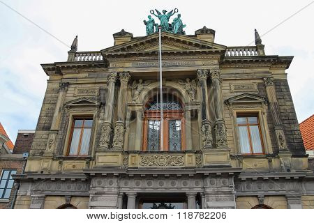Facade Of Teylers Museum Of Art, Natural History And Science In Haarlem, Netherlands