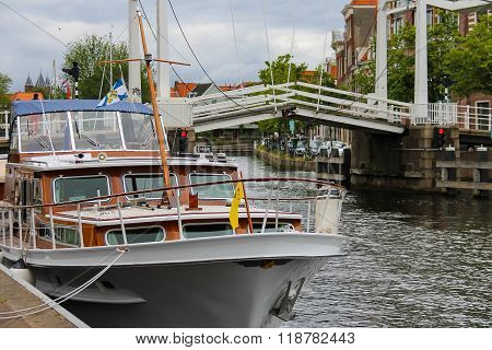 Anchored Yachts Near The Drawbridge In Haarlem, The Netherlands