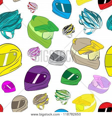 Seamless colorful motorcycle helmets