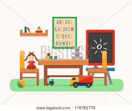 Kids room. Kindergarten preschool playground.