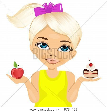 doubtful little girl holding an apple and dessert