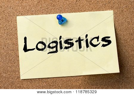 Logistics - Adhesive Label Pinned On Bulletin Board