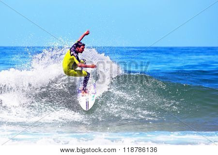 VALE FIGUEIRAS - AUGUST 20: Professional surfer surfing a wave on august 20 2014 at Vale Figueiras in Portugal