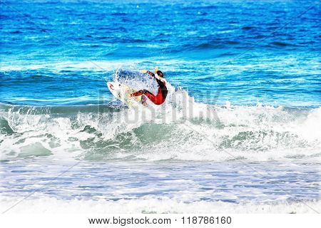 VALE FIGUEIRAS - AUGUST 16: Professional surfer surfing a wave on august 16 2014 at Vale Figueiras in Portugal