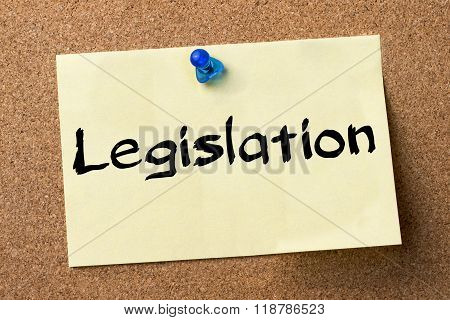 Legislation - Adhesive Label Pinned On Bulletin Board
