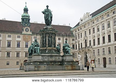 Vienna, Austria - April 23, 2010: Statue Of Francis Ii, Roman Emperor In The Courtyard Square In The