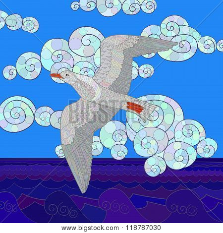 Flying seagull with high details.