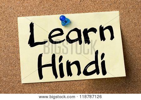 Learn Hindi - Adhesive Label Pinned On Bulletin Board