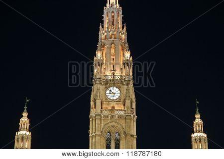 Vienna, Austria - April 22, 2010: Details Of Vienna's City Hall At Night