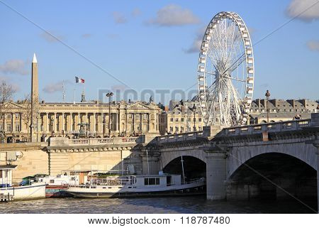 Paris, France -18 December 2011:  View From Quai D'orsay At Pont De La Concorde And The Big Ferris W