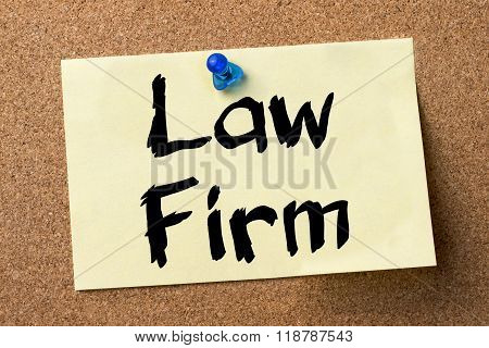 Law Firm - Adhesive Label Pinned On Bulletin Board