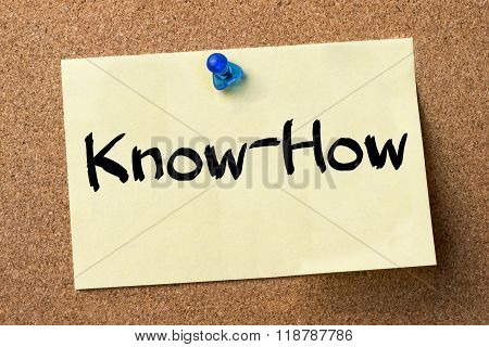 Know-how - Adhesive Label Pinned On Bulletin Board