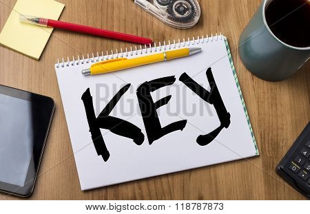 Key - Note Pad With Text